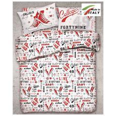 Parure In Cotone Sacco Copripiumino Letto Matrimoniale Fantasia All-stars Prodotto In Italia