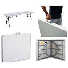 Tavolo da giardino rettangolare in metallo e PVC bianco 242X76Xh74 Cm Papillon