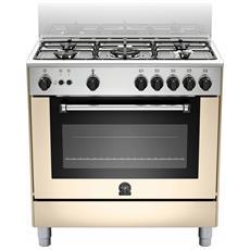 Cucina a Gas AMN805GEVSCRE Serie Americana 5 Fuochi a Gas Forno a Gas Ventilato Dimensioni 80 x 50 cm Colore Crema