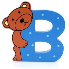 Lettera B Animali Orsetto In Legno Cm 8x8x1 - Per Cameretta Bambini