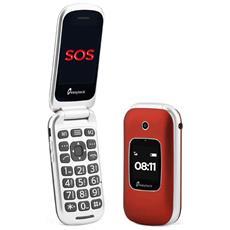"T129 Senior Phone Display 2.4"" con Tasti Grandi + Tasto SOS Bluetooth Fotocamera colore Rosso - Italia"