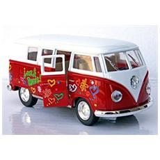 Vw 62 Bulli Classical Bus Rosso Modellino Metallo C / molla Richiamo - Cm 13 5x5x6 1:32 Per Bambini (3a+)