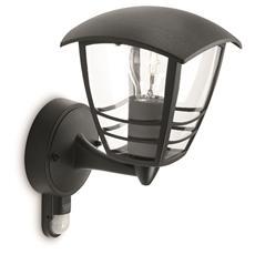 Creek - Lampada Da Parete Lanterna Up Alluminio Nero Con Sensore