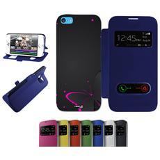 Flip Cover Blu Farfalla Nera Per Iphone 5c Blu - Custodia Protettiva Richiudibile