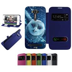 Flip Cover Blu Gufo Bianco Pioggia Per Asus Zenfone 2 Laser Ze550kl Blu - Custodia Protettiva Richiudibile