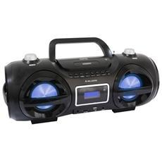 Lettore CD Audio e MP3, Ingressi USB e microSD, AUX da 3.5mm, Bluetooth 3.0, Radio FM, 2x 10W, 3.3kg, Nero