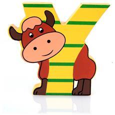 Lettera Y Animali Yak In Legno Cm 6x7x1 Per Cameretta Bambini