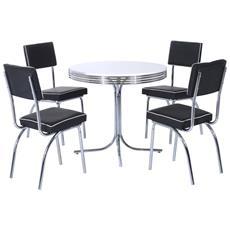 Set Tavolo Da Pranzo Con 4 Sedie Imbottite In Legno Mdf E