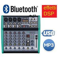 """Mixer Audio Passivo 6 Ch. Processore Di Effetti """"""""fx"""""""" Bluetooth Usb"""