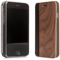 Flip Cover Custodia in Legno e Pelle per iPhone 6/6s Colore Noce e Nero