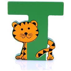Lettera T Animali Tigre In Legno Cm 7x7x1 Per Cameretta Bambini