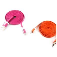 telefoni 2 cavi usb 'coloriage' arancione rosa (2m) - [ k9291]