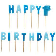 Candeline Con Scritta Happy 1st Birthday Pacco Da 14 (one Size) (blu)