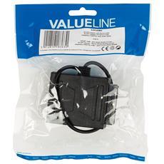 VLVP31930B02, Scart + 3.5mm, Scart, Maschio / femmina, Nero, Nichel, Sacchetto di politene