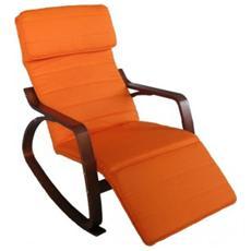Sedia A Dondolo Poltrona Imbottita Fodera Terracotta Con Cuscino E Poggiapiedi Regolabile