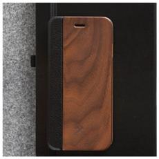Flip Cover Custodia in Legno e Pelle per iPhone 6 Plus / 6s Plus Colore Ciliegia e Nero