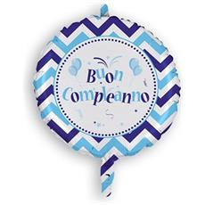 Palloncino Mylar Buon Compleanno Chevron Celeste Ø 45 Cm Magic Party