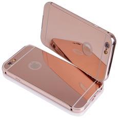 Bumper Cornice In Alluminio Per Iphone 6 E 6s Serie Luxury Rosa Oro Con Back Cover A Specchio