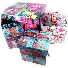 set di 3 scatole di ricordi 'rock music' - [ i6280]