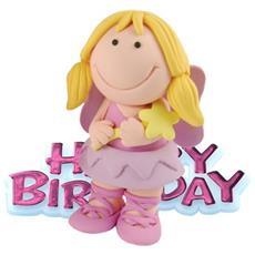 Cake Topper Buon Compleanno Fatina (taglia Unica) (rosa)