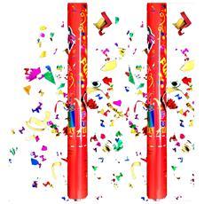 Set 2 Tubi Tubo Sparacoriandoli Colorati Tubo Cannone 38 Cm Festa Party Compleanno Laurea Matrimonio Spara Coriandoli