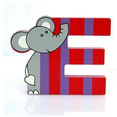 Lettera E Animali Elefante In Legno Cm 8,5x7x1 - Per Cameretta Bambini
