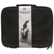 """Borsa Notebook piu Mouse fino a 15,6"""" in Poliestere Nero EW2505."""