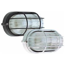 Plafoniera Ovale da Esterno Giardino Gabbia 60W colore Nero 10,7x21,3x9,5 cm