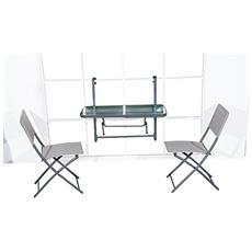 Tavolino pieghevole in acciaio mensola per balcone 91x64x40cm