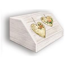 Portapane Con Decoro In 'rose Hearts' In Legno Shabby Dalle Dimensioni Di 30x40x20 Cm