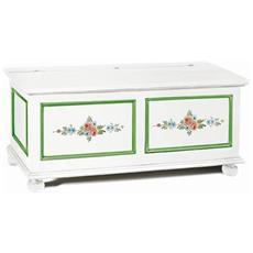 Cassapanca Legno Bianco Opaco Con Decori Colore Verde E Fiori - Codluis 335