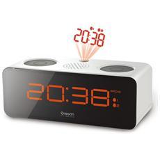 Orologio Sveglia con Radio FM e Proiezione dell'ora Colore Bianco