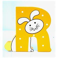 Lettera R Animali Coniglio In Legno Cm 7x7x1 Per Cameretta Bambini