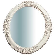 Specchiera Da Parete Verticale / orizzontale In Legno Finitura Bianco Anticato Made In Italy L51xpr2,5xh41 Cm