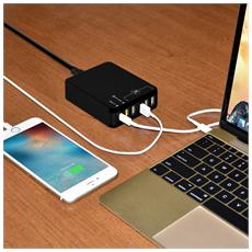 35W 6-Port USB Charger, Interno, Smartphone, Tablet, AC, Nero, Over power, Overcharge, 100 - 240