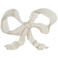 Decoro A Forma Di Fiocco In Legno Finitura Bianco Anticato Made In Italy L27xpr2,5xh20 Cm