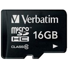 16GB Micro SDHC CLASS 10 - Velocità di scrittura: 10MB / Sec - Velocità