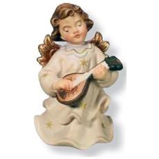 Soprammobile raffigurante Angelo con mandolino in legno europeo Altezza cm 5