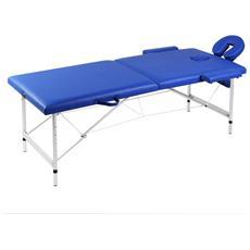 Lettino Pieghevole Da Massaggio Blu 2 Zone Con Telaio Alluminio