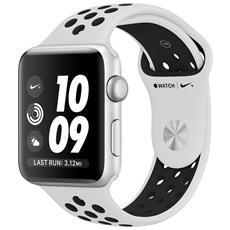 Watch Nike+ GPS da 42 mm Cassa in alluminio color argento con cinturino Nike Sport Platino / Nero
