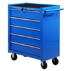 HOMCOM - Carrello da officina a 5 cassetti con ruote blu 96bdfa1842ca
