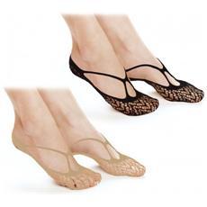 8287 Pack 6 Paia Calzini Invisible Socks Salvapiedi Tg. Unica 35/41 Trama Pizzo
