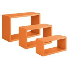 Tre Mensole Modello Trittico Di Dimensioni: Cm. 45x27, Cm. 40x22 E Cm. 36x17 Con Profondità Cm. 15,5 Arancio