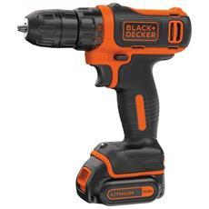 BDCDD12K1-QW Nero, Arancione Trapano con impugnatura a pistola 550Giri / min Ioni di Litio 1.5Ah trapano senza fili