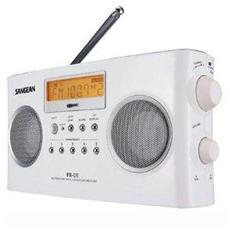 PR-D7 FM AM Radio Digitale Portatile Orologio Sveglia Timer Colore Bianco