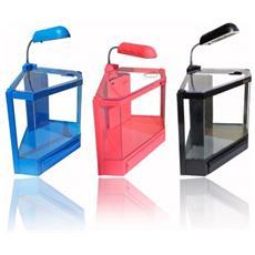 Acquario In Plastica Rigida 4,5 Litri 6 Led 2w Con Filtro Risparmio Energetico 28,5 X 18,6 X 24,5 Cm - Celeste