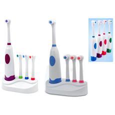 Spazzolino Da Denti Elettrico Rotante 3 Testine Colorate Ricambio Pulizia Denti Formato Famiglia Con Basetta Colore Casuale
