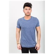 T-shirt Uomo Fiammata Con Scritta Blu L