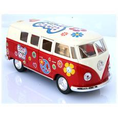 Vw 62 Bulli T1 Peace E Love Rosso Modellino Metallo C / molla Richiamo - Cm 13,5x5x6 1:32 Per Bambini