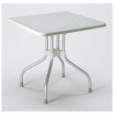 Tavolo Ribalto Top 80x80 Con Piano Ribaltabile In Polipropilene E Gambe In Alluminio